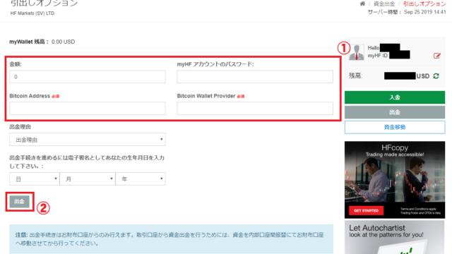 HotforexのBitcoin出金画面