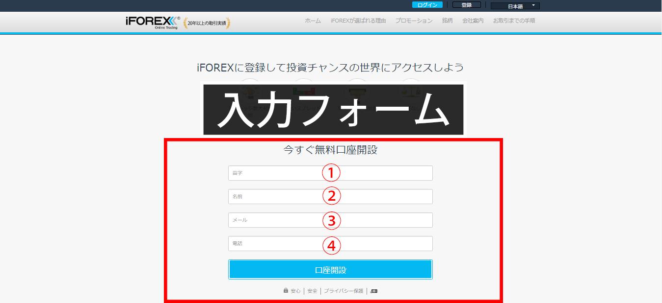 iFOREX口座開設手順1
